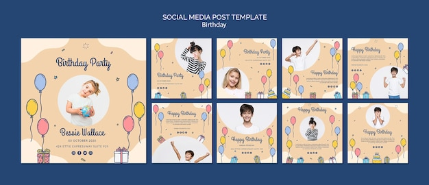 Modello di post social media di buon compleanno con foto