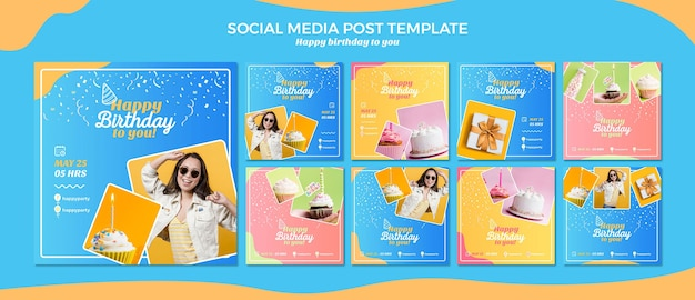 Modello di post social media di buon compleanno