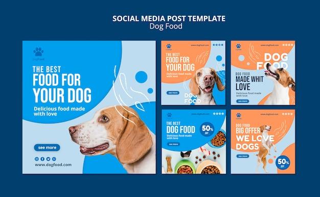 Modello di post social media di cibo per cani