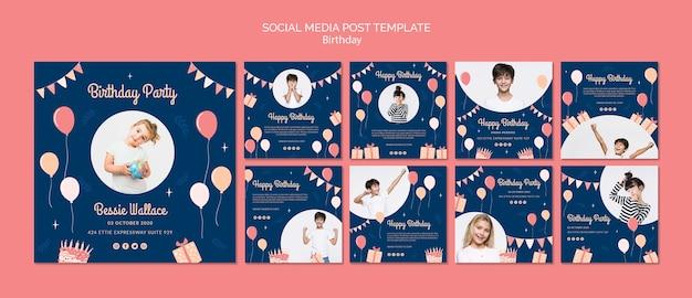 Modello di post social media di compleanno