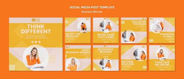 Modello di post social media di concetto di donna di affari