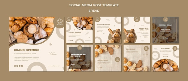 Modello di post social media di panetteria di grande apertura
