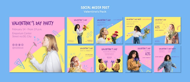 Modello di post social media di san valentino