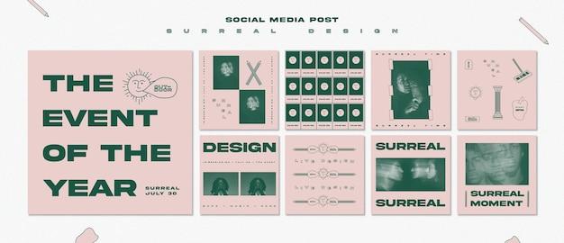 Modello di post social media evento di design surreale