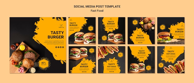 Modello di post social media fast food