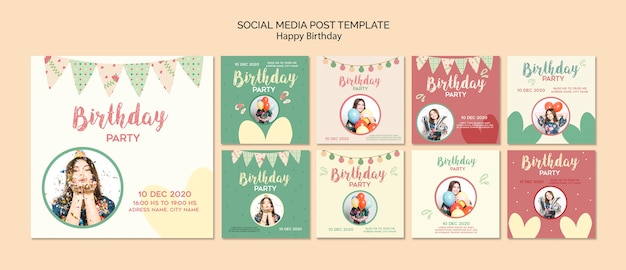 Modello di post social media festa di compleanno con foto