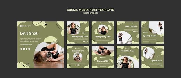 Modello di post social media fotografo