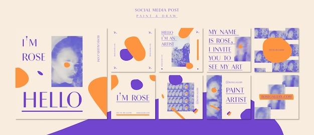 Modello di post social media galleria artista