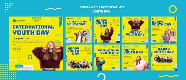 Modello di post social media giorno della gioventù