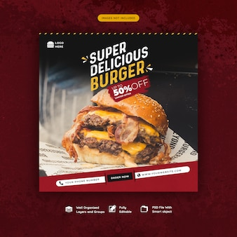 Modello di post social media hamburger di fast food