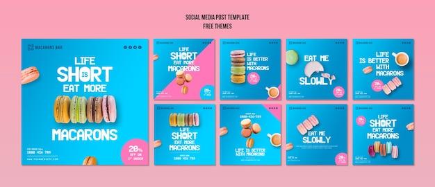 Modello di post social media macarons