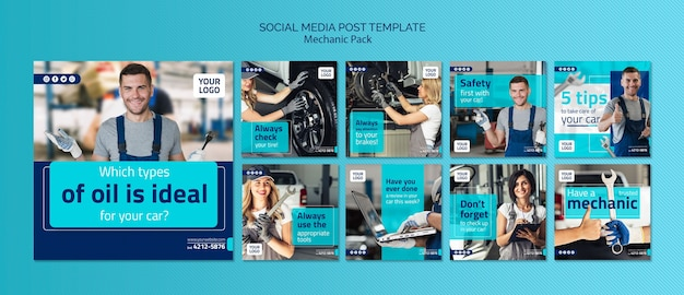 Modello di post social media meccanico con foto