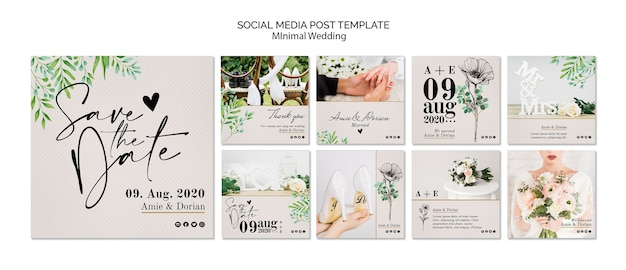 Modello di post social media minimal matrimonio