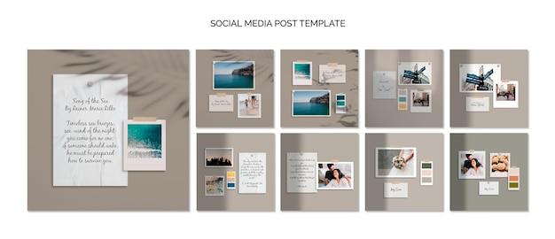 Modello di post social media moodboard colorati