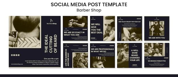 Modello di post social media negozio di barbiere