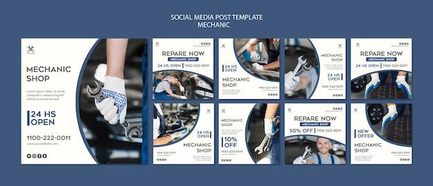 Modello di post social media negozio meccanico
