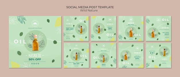 Modello di post social media olio naturale