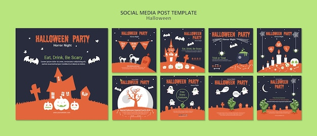 Modello di post social media per halloween