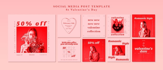 Modello di post social media per san valentino