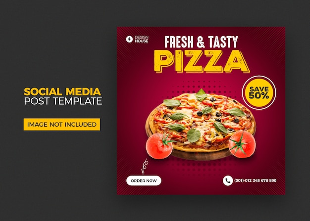 Modello di post social media pizza