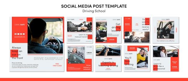 Modello di post social media scuola guida
