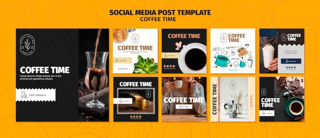 Modello di post social media tempo caffè e cioccolato