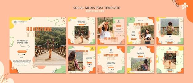 Modello di post social media tempo di avventura