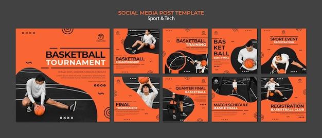 Modello di post social media torneo di basket