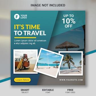 Modello di post social media tour di viaggio