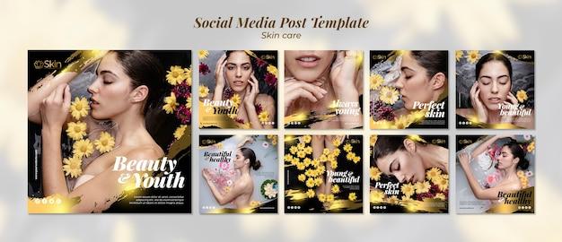 Modello di post social media trattamento di cura della pelle