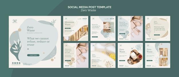 Modello di post social media zero prodotti di scarto