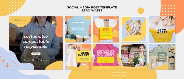 Modello di post sui social media a zero sprechi