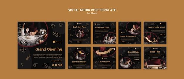 Modello di post sui social media baker