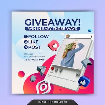 Modello di post sui social media con promozione giveaway per instagram