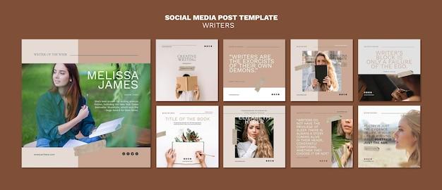 Modello di post sui social media degli scrittori
