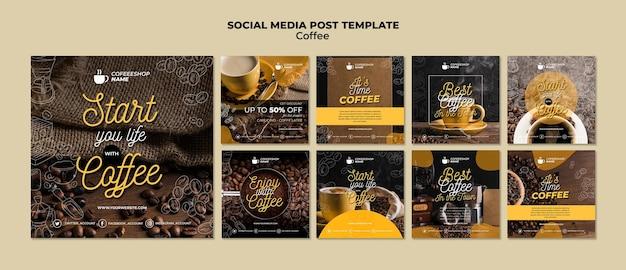 Modello di post sui social media del caffè