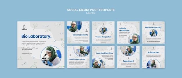 Modello di post sui social media del club della scienza