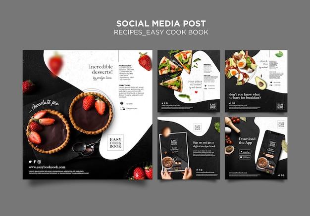 Modello di post sui social media del libro di cucina