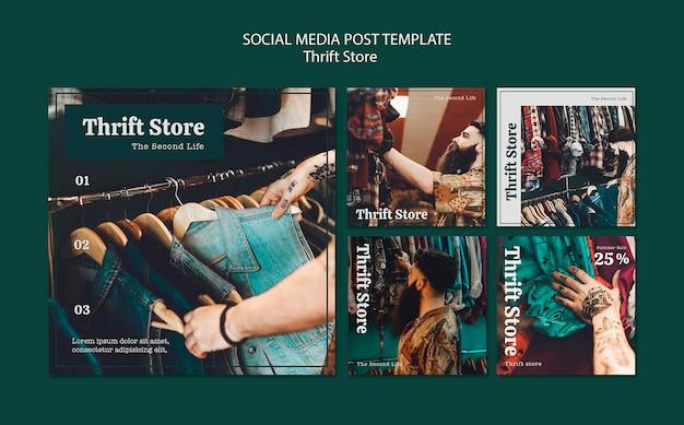 Modello di post sui social media del negozio dell'usato