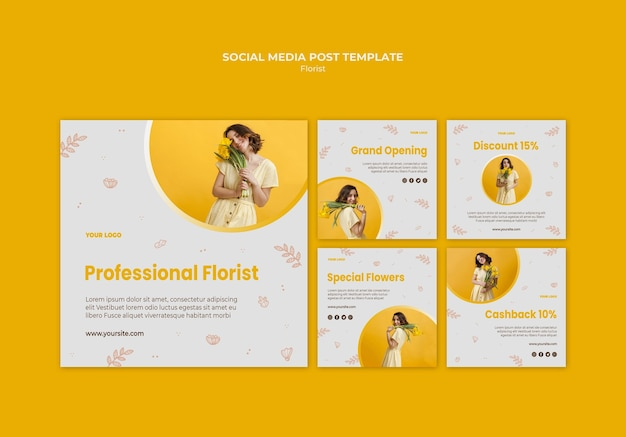 Modello di post sui social media del negozio di fiori