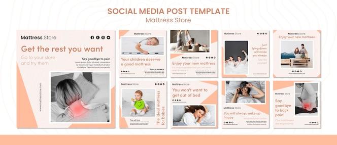 Modello di post sui social media del negozio di materassi