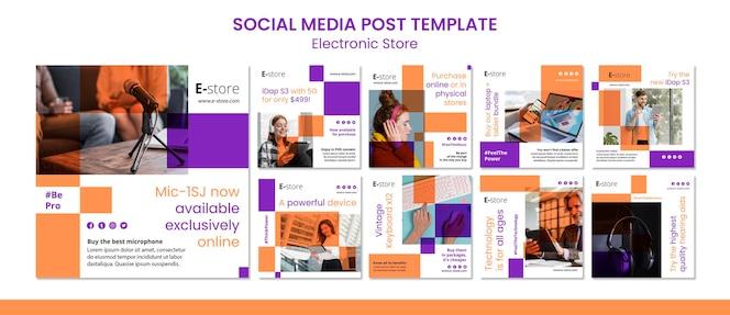 Modello di post sui social media del negozio elettronico