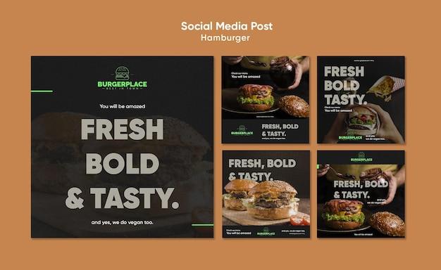 Modello di post sui social media del ristorante hamburger