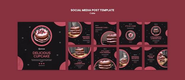 Modello di post sui social media delizioso cupcake