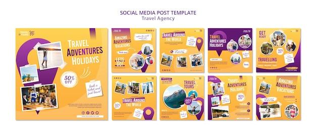 Modello di post sui social media dell'agenzia di viaggi