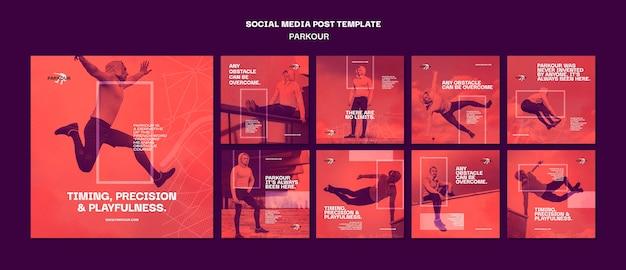 Modello di post sui social media dell'annuncio di parkour