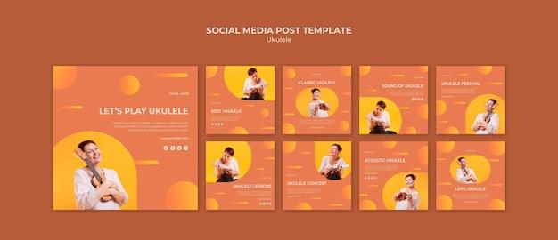 Modello di post sui social media dell'annuncio di ukulele