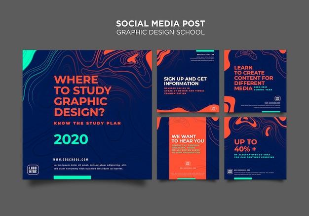 Modello di post sui social media della scuola di design grafico