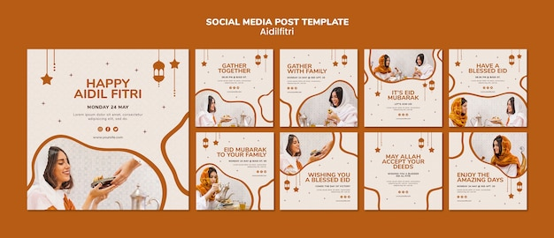 Modello di post sui social media di aidilfitri