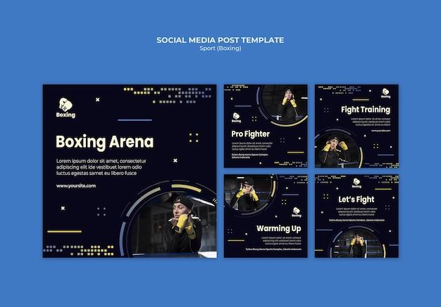 Modello di post sui social media di annunci di boxe